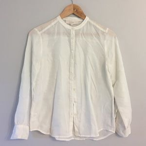 LOFT • Cream Semi Sheer Button Down